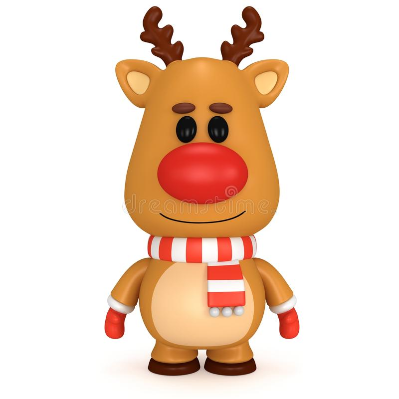 与红色鼻子的圣诞节鹿佩带围巾和手套 向量例证