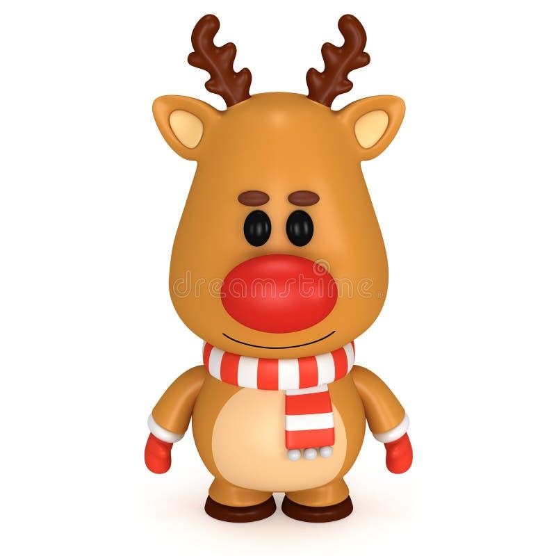 与红色鼻子的圣诞节鹿佩带围巾和手套 库存例证