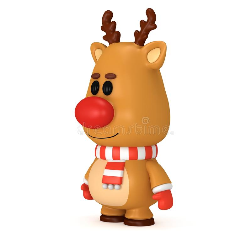 与红色鼻子的圣诞节鹿佩带围巾和手套 皇族释放例证