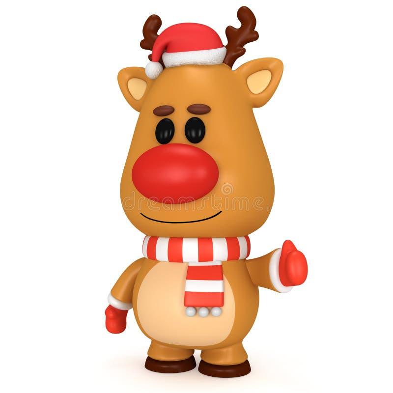 与红色鼻子的圣诞节鹿戴着圣诞老人帽子 向量例证