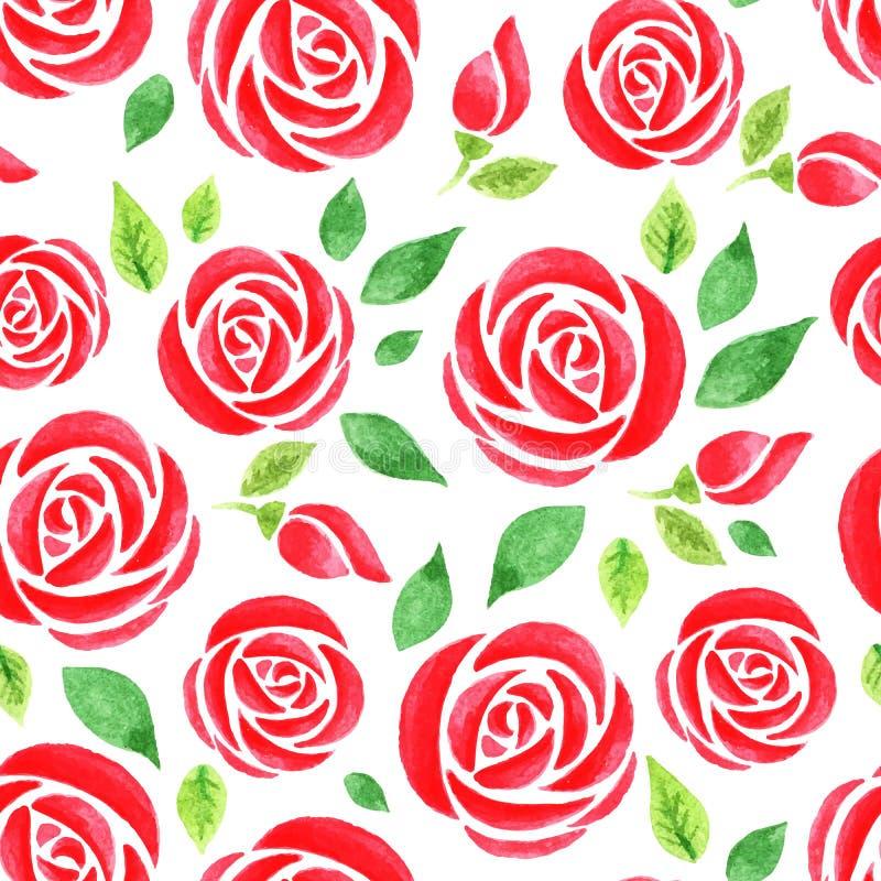 与红色水彩的无缝的样式上升了 皇族释放例证
