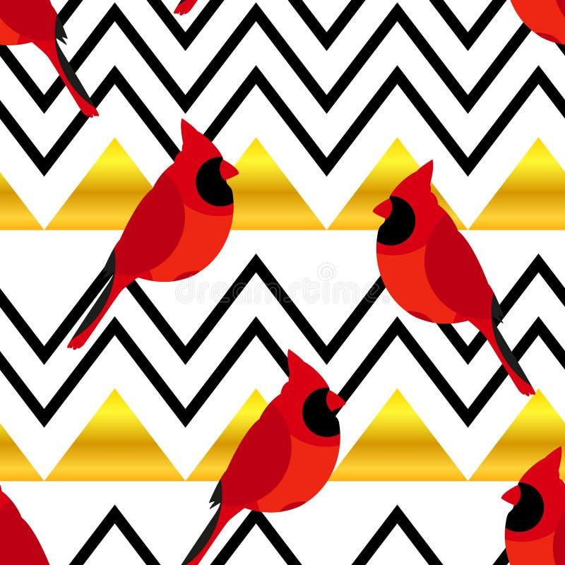 与红色主教和金三角的抽象样式 纺织品和包裹的装饰品 向量 皇族释放例证