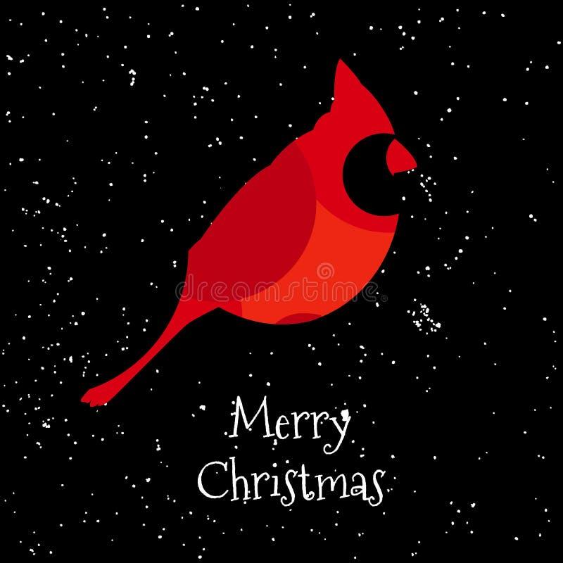 与红色主教和雪的圣诞快乐卡片 向量 平的设计 向量例证