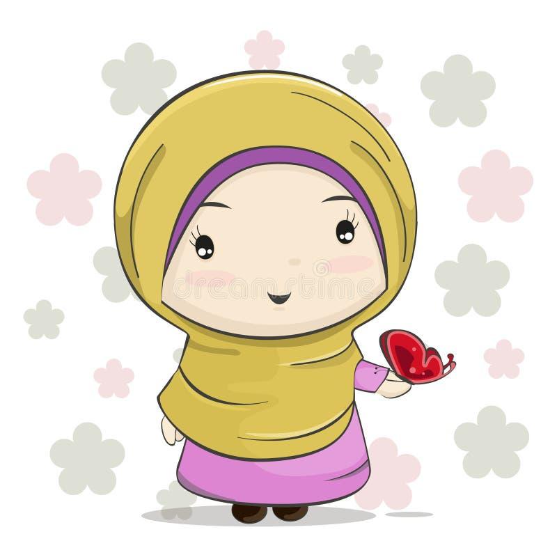 与红色蝴蝶的一部逗人喜爱的回教女孩动画片在她的手上 向量例证