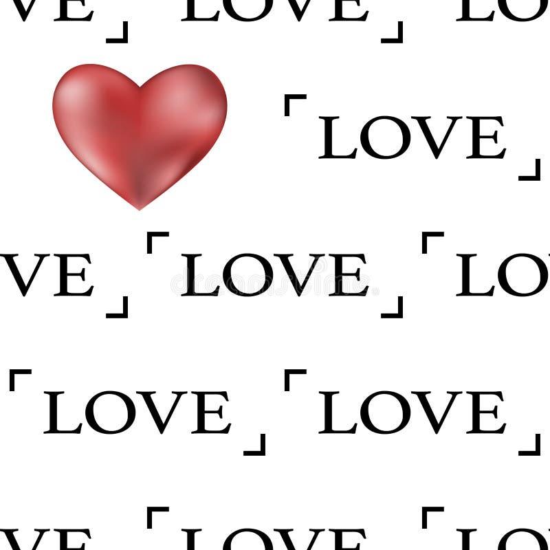 与红色3d心脏的情人节无缝的样式 皇族释放例证