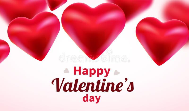 与红色3d心脏的情人节背景 逗人喜爱的爱横幅或贺卡 E E 向量例证