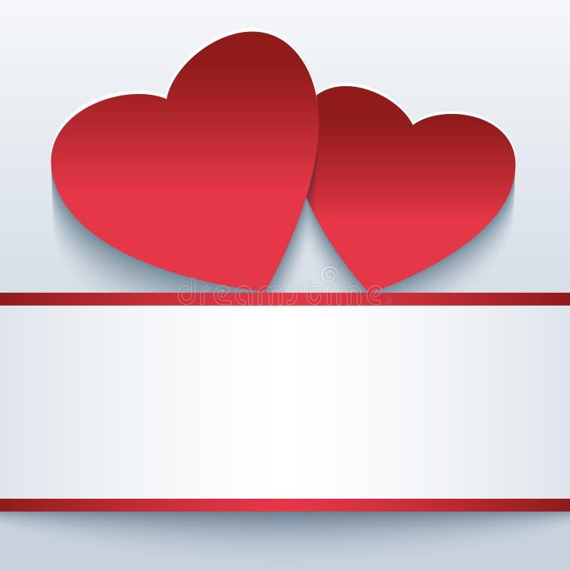 与红色3d心脏的爱美好的背景 库存例证