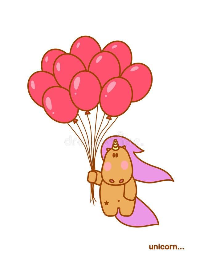与红色baloons的独角兽飞行 皇族释放例证