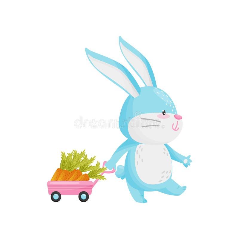 与红萝卜汽车的兔子在白色背景 库存例证