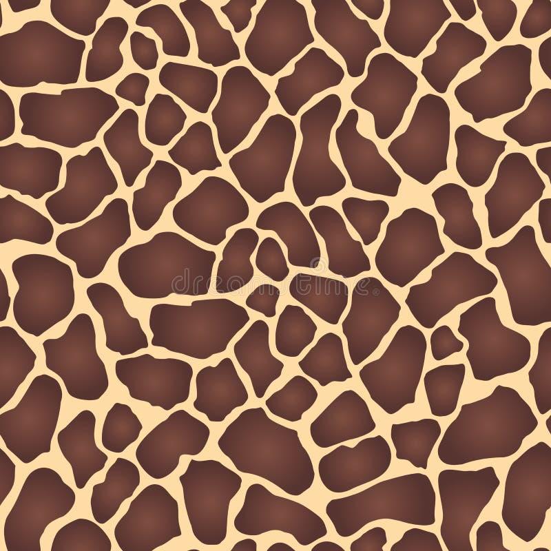 与红褐色的斑点的无缝的动物印刷品在米黄背景,长颈鹿皮肤,传染媒介 向量例证