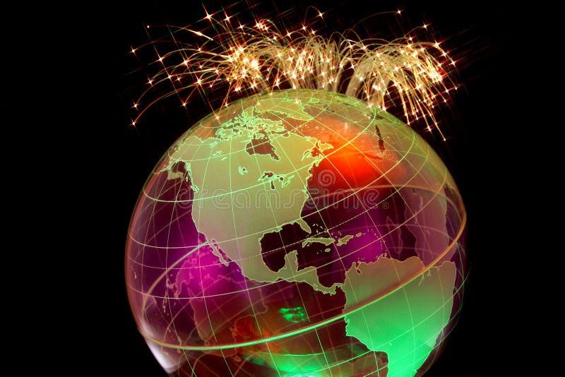 与纤维光学的全球性连通性 图库摄影