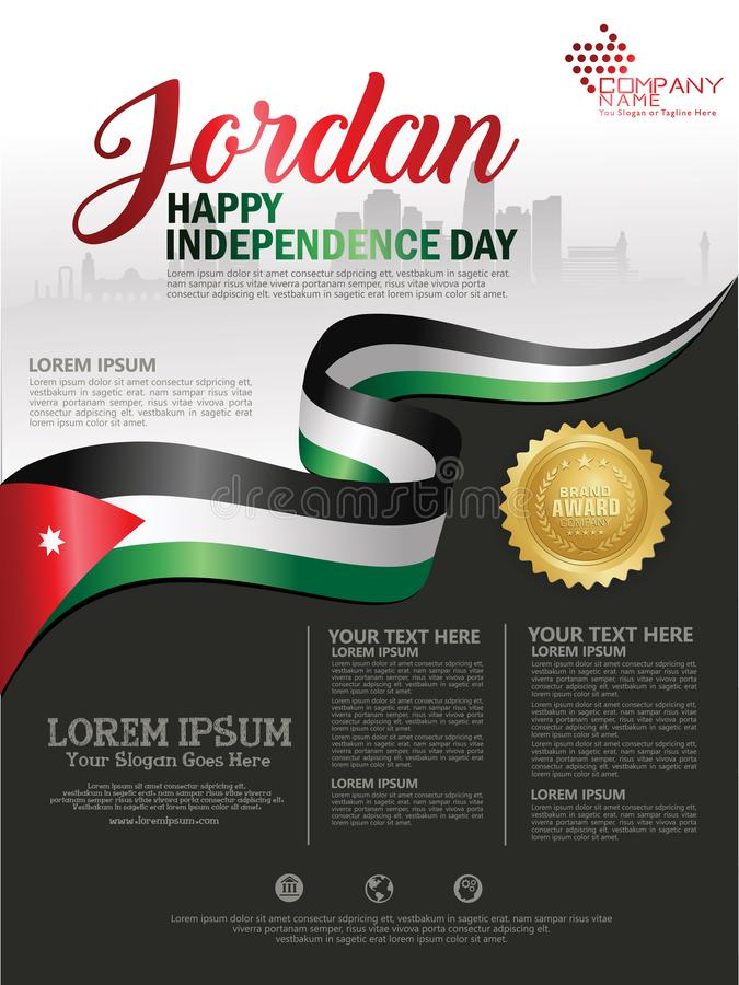 与约旦的挥动的旗子和剪影的约旦愉快的独立日背景有奖丝带皇族的 ???? 库存例证