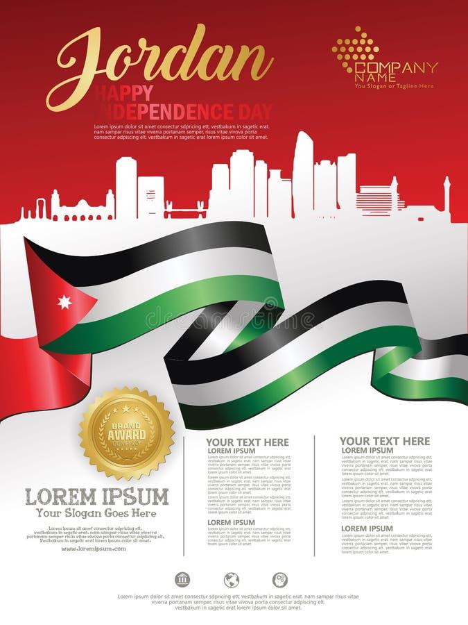 与约旦的挥动的旗子和剪影的约旦愉快的独立日背景有奖丝带皇族的 ???? 皇族释放例证