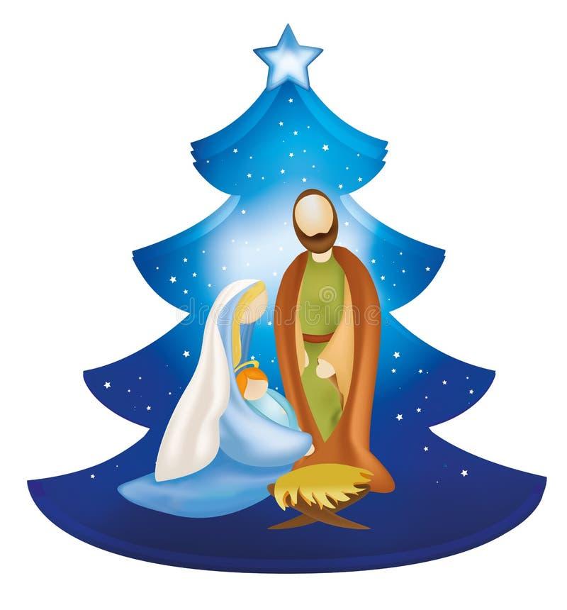 与约瑟夫和小耶稣的被隔绝的圣诞树诞生场面在玛丽` s武装 库存例证