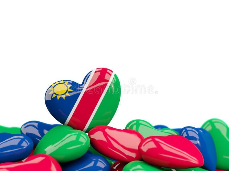 与纳米比亚的旗子的心脏 向量例证