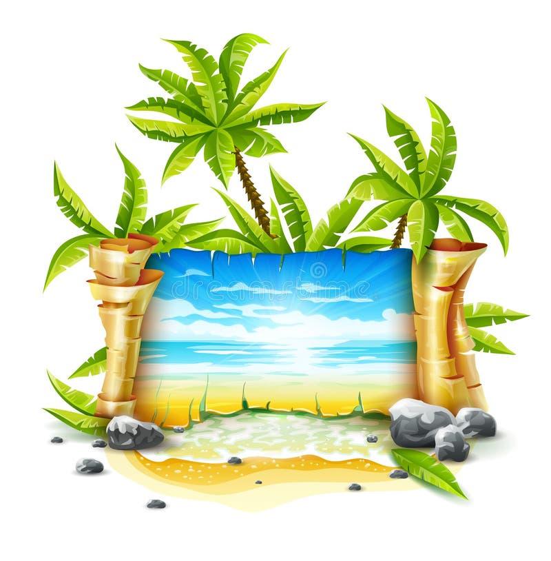 与纸剧本和热带海岛的旅行横幅 皇族释放例证