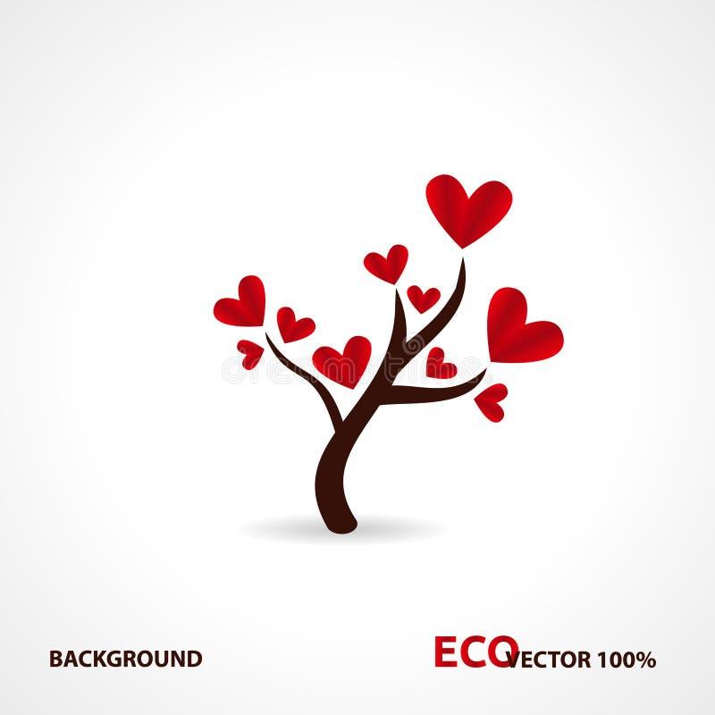 与纸叶子和垂悬的心脏的树 与心脏叶子的爱护树木 库存例证