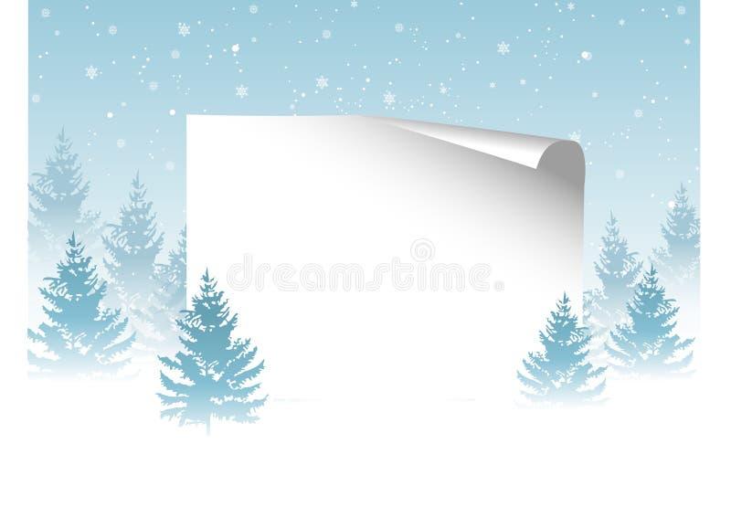 与纸和雪花,树的圣诞节背景 皇族释放例证