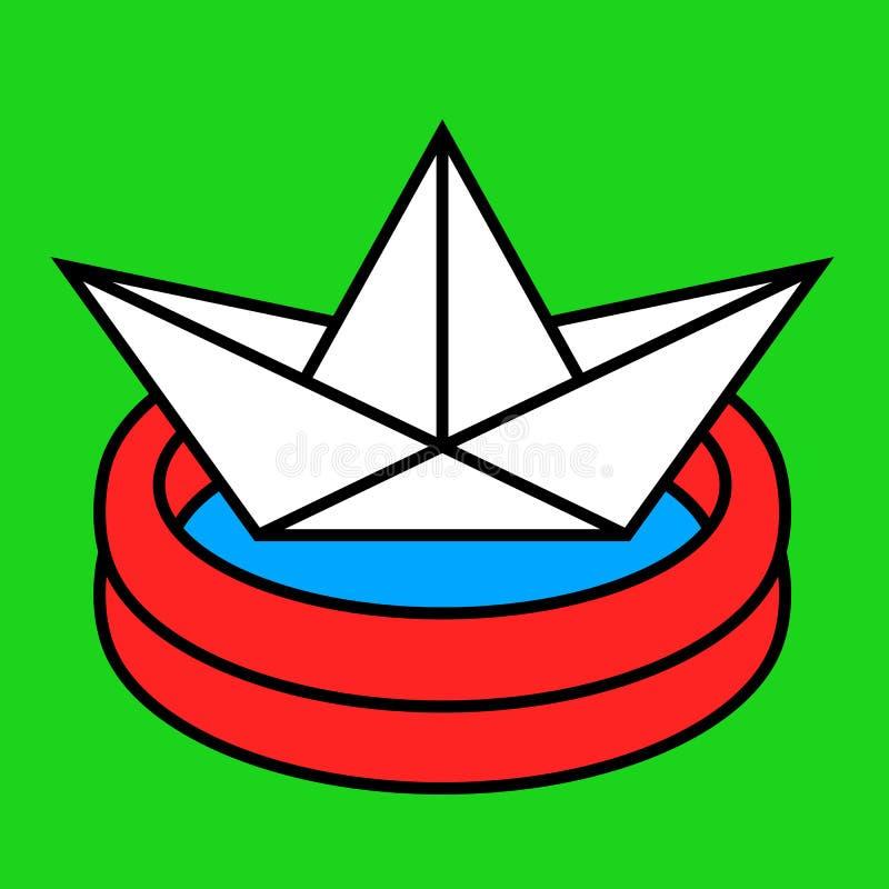 与纸小船的五颜六色的动画片嬉水池 库存例证