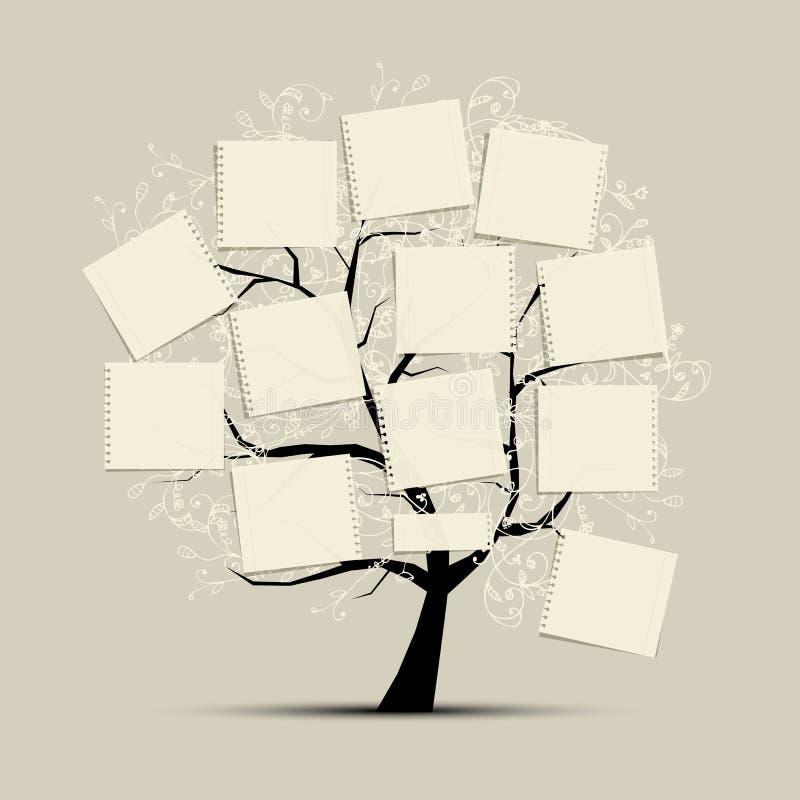 与纸张的艺术结构树您的文本的 向量例证
