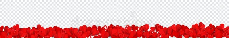 与纸心脏的横幅 向量例证