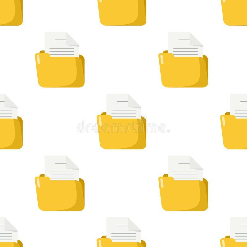 与纸无缝的样式的黄色文件夹 皇族释放例证