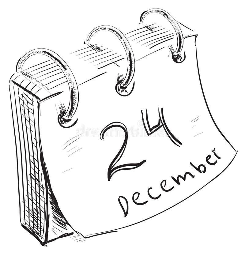 与纸板料和金属圆环的日历 向量例证