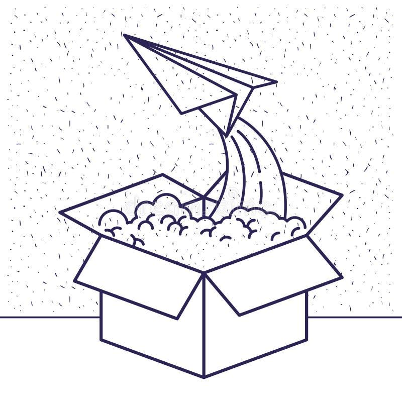 与纸板箱和纸平面飞行蓝色剪影的白色背景  向量例证