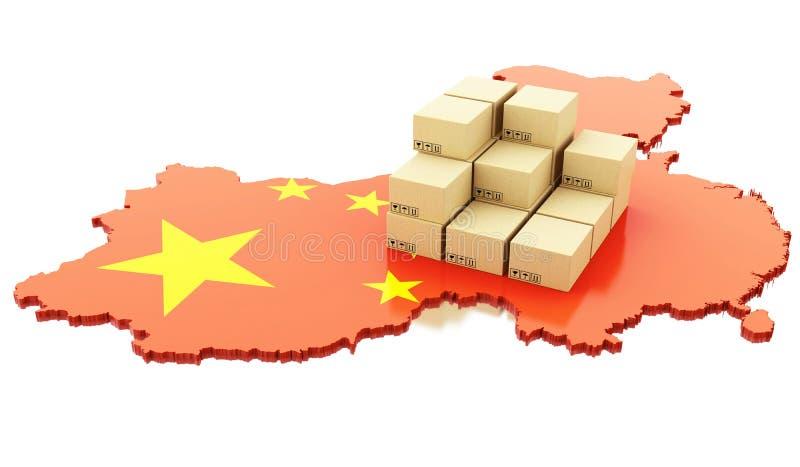 与纸板箱的3d中国地图 向量例证