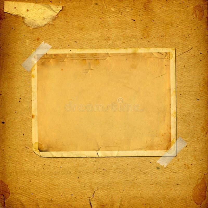 与纸框架的老葡萄酒册页 库存图片