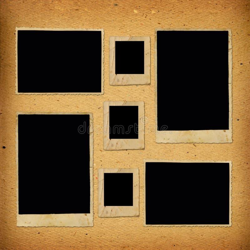 与纸框架的老葡萄酒册页 免版税图库摄影