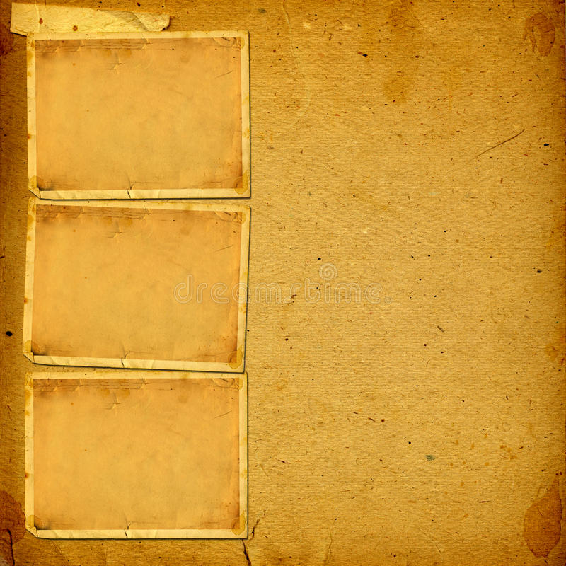 与纸框架的葡萄酒册页的照片 免版税库存图片