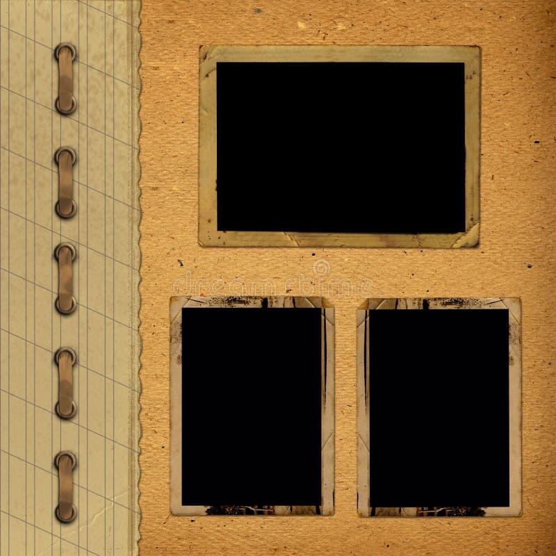 与纸框架的葡萄酒册页的照片 免版税库存照片