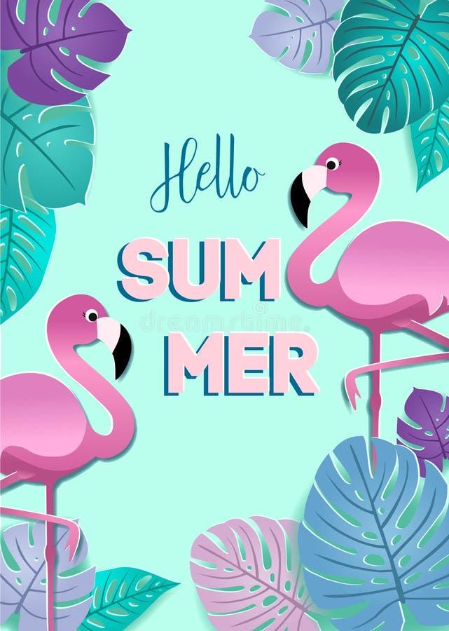与纸火鸟和被传统化的热带叶子的夏天卡片 导航横幅的,飞行物,邀请,海报设计 向量例证