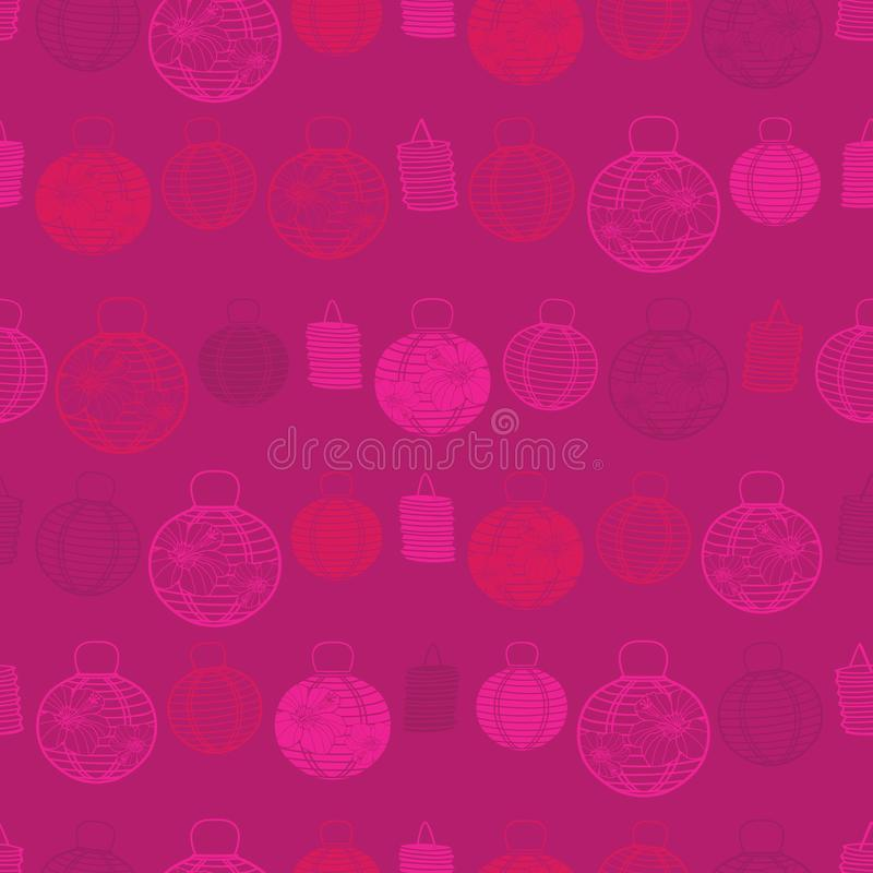 与纸灯的传染媒介红色无缝的样式 适用于纺织品、缎带包装和墙纸 向量例证