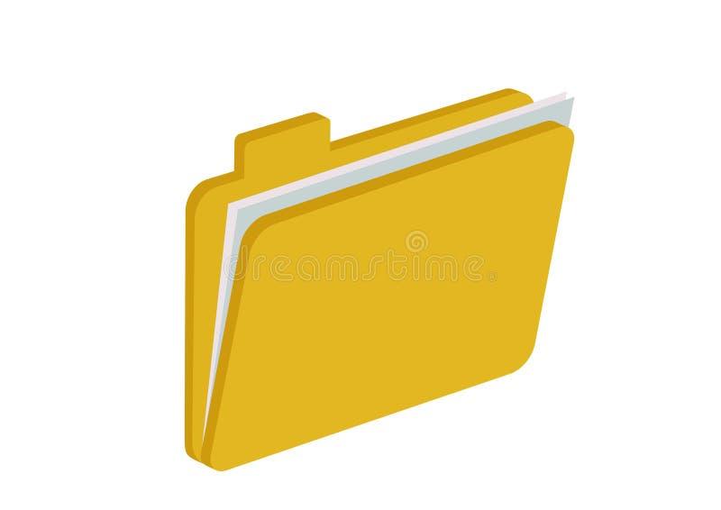 与纸片的半开敞的黄色文件夹 皇族释放例证