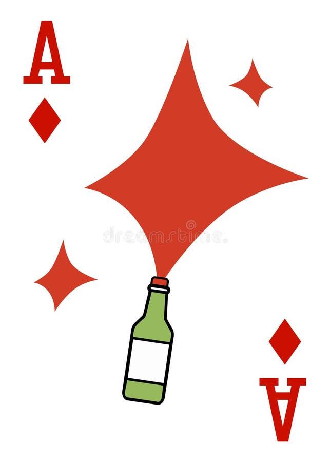 与纸牌的例证-一点和瓶 向量例证