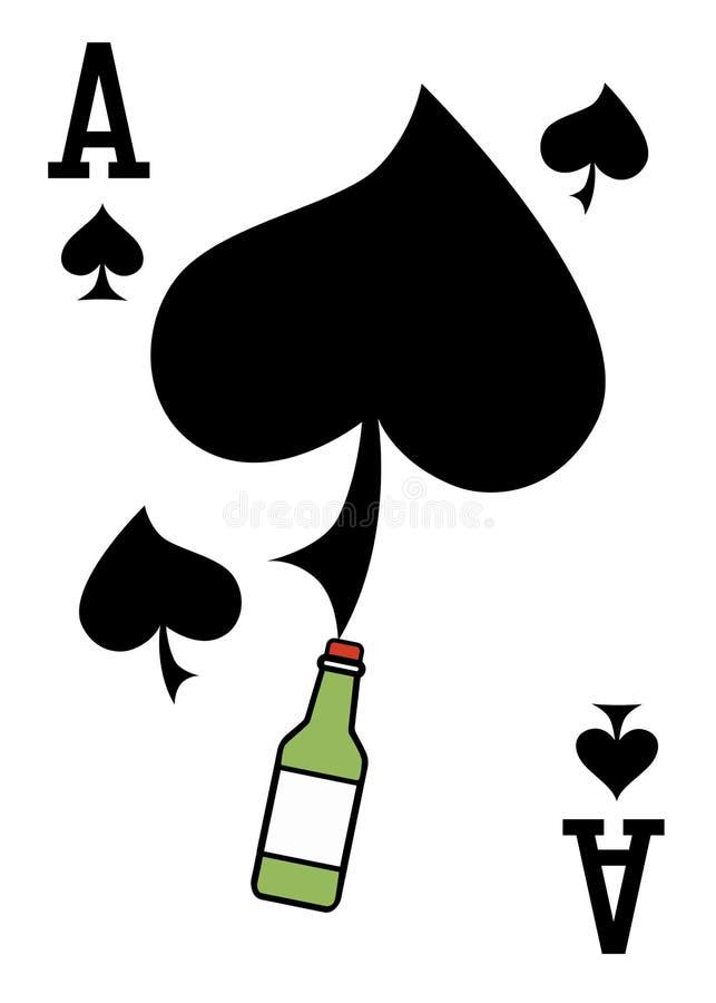 与纸牌的例证-一点和瓶 库存例证