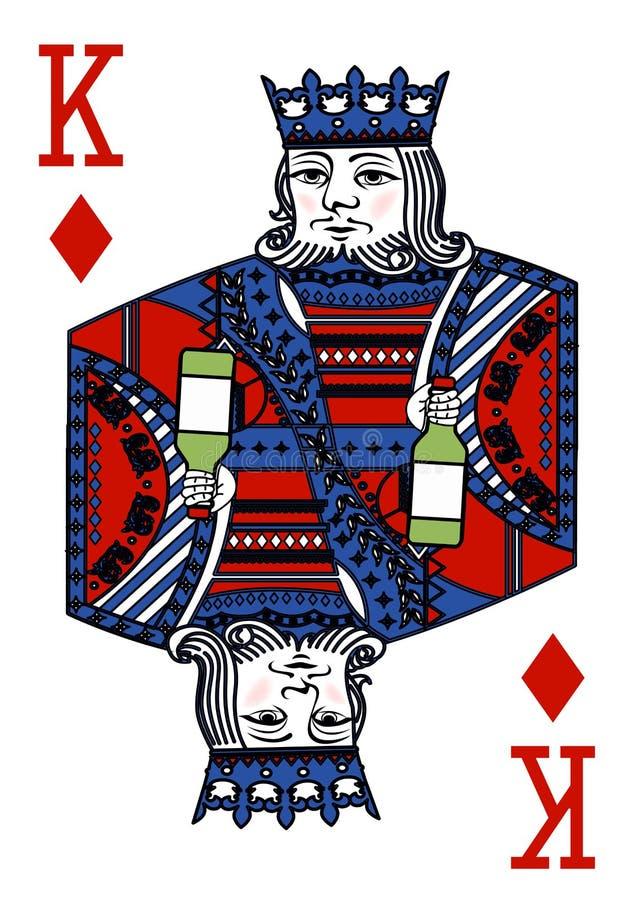 与纸牌的例证-国王和瓶 向量例证