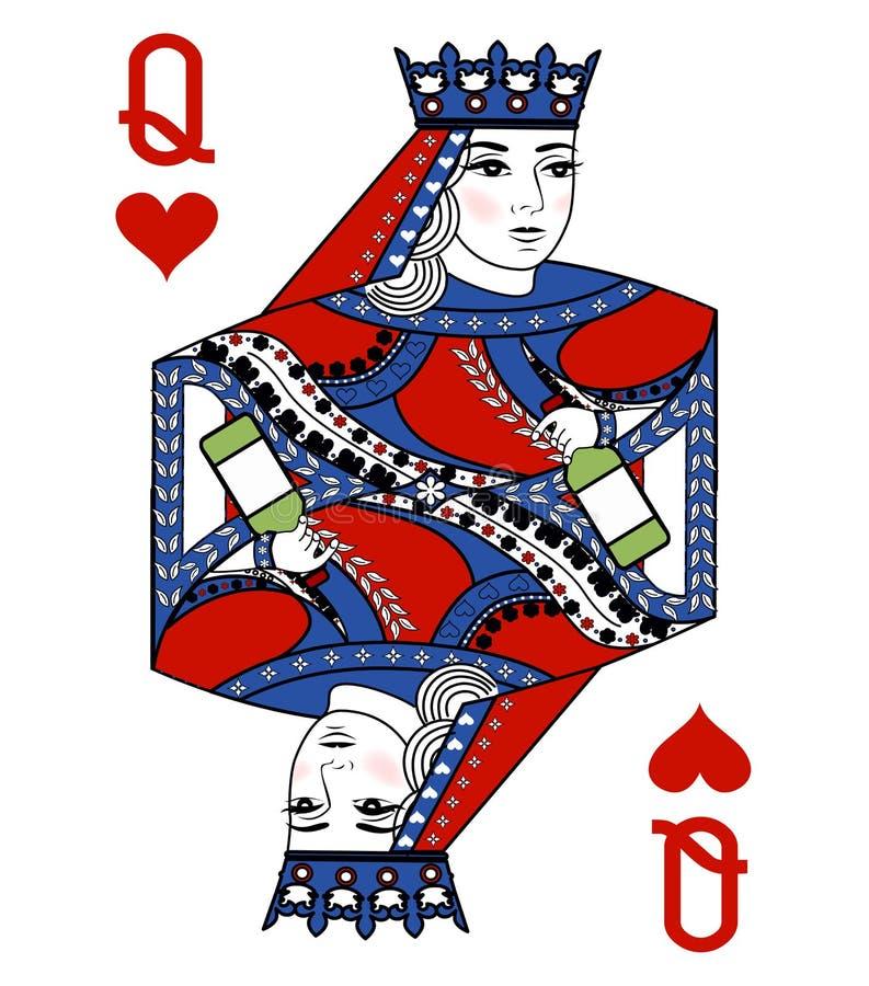 与纸牌的例证-女王/王后和瓶 向量例证
