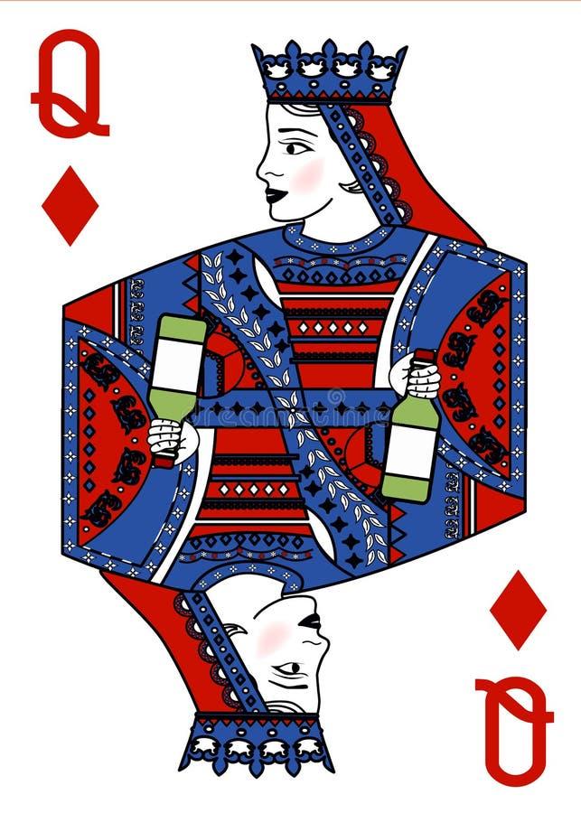 与纸牌的例证-女王/王后和瓶 皇族释放例证
