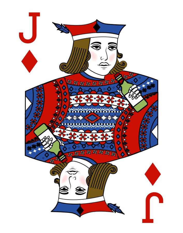 与纸牌的例证-杰克和瓶 皇族释放例证
