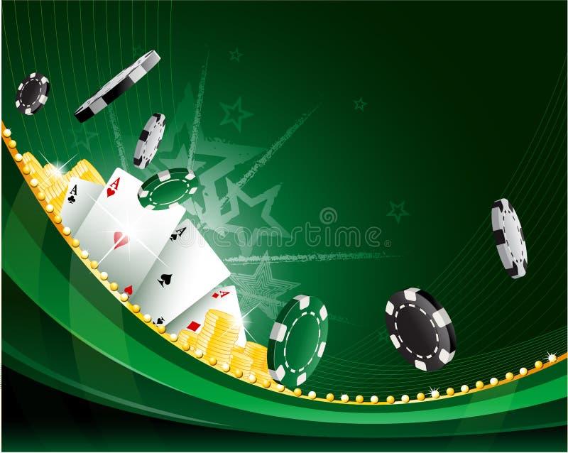 与纸牌筹码和休闲纸牌的绿色挥动的抽象葡萄酒赌博娱乐场背景 皇族释放例证
