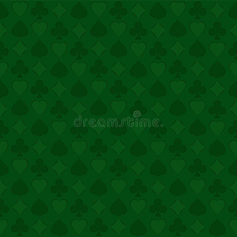 与纸牌衣服的无缝的样式在绿色背景 免版税库存图片
