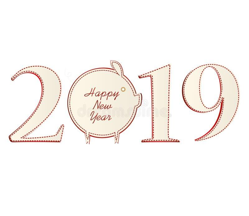 与纸猪的图2019年 新年,圣诞节,冬天题材 向量 在白色背景的贺卡图片