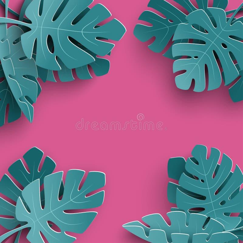 与纸的夏天背景删去了热带叶子,横幅的,飞行物,邀请,海报,网站异乎寻常的花卉设计 库存例证