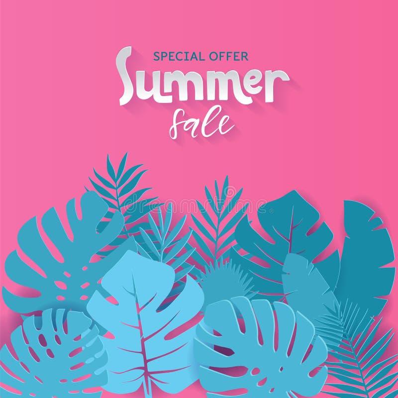 与纸的方形的夏天销售横幅设计削减了与手拉的在上写字的qoute的热带棕榈叶背景 ?? 库存例证