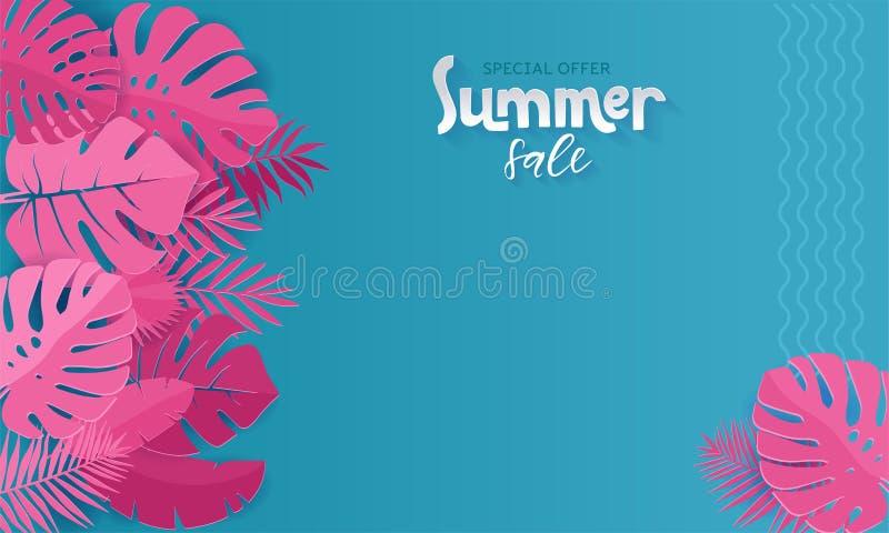 与纸的水平的夏天销售横幅切开了在蓝色背景的桃红色热带叶子 横幅的,邀请异乎寻常的花卉设计 库存例证