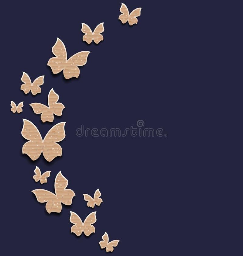 与纸盒纸蝴蝶的假日卡片 库存例证