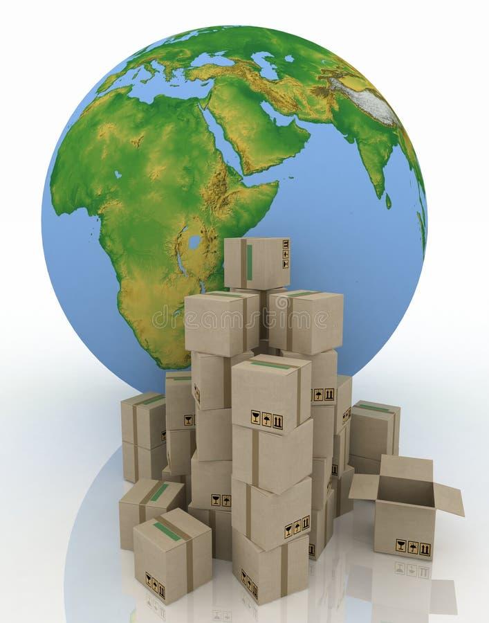 与纸盒配件箱的地球 皇族释放例证